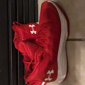 Under Armour Mid-Top Basketball Shoes (Red)